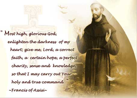 St. Francis and his prayer before the crucifix of San Damiano